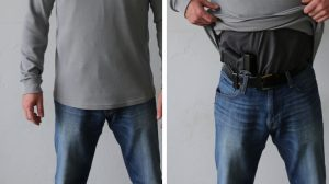 Man showing how to carry concealed